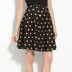 Anthropologie Mcginn M 8 Black Eyelet Circle skirt